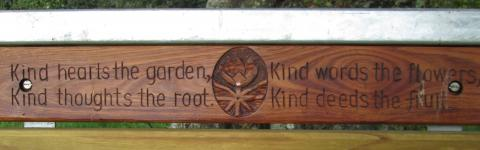 Detail from a bench seat donated by Ashhurst Engineering and Construction for the Olsson Orchard