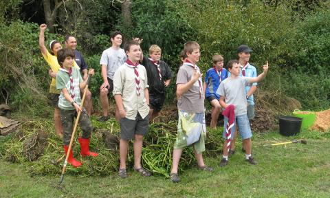 RECAP thanks the Ashhurst Cubs & Scouts for conservation work at McCrae's Bush -- and for contributing cleared stream weed to our annual compost heap!